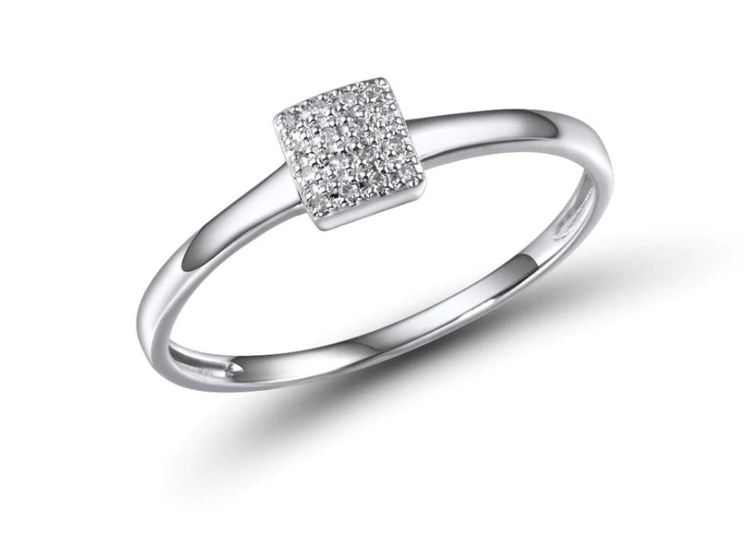 Women's 14K Gold Crystal Square Ring