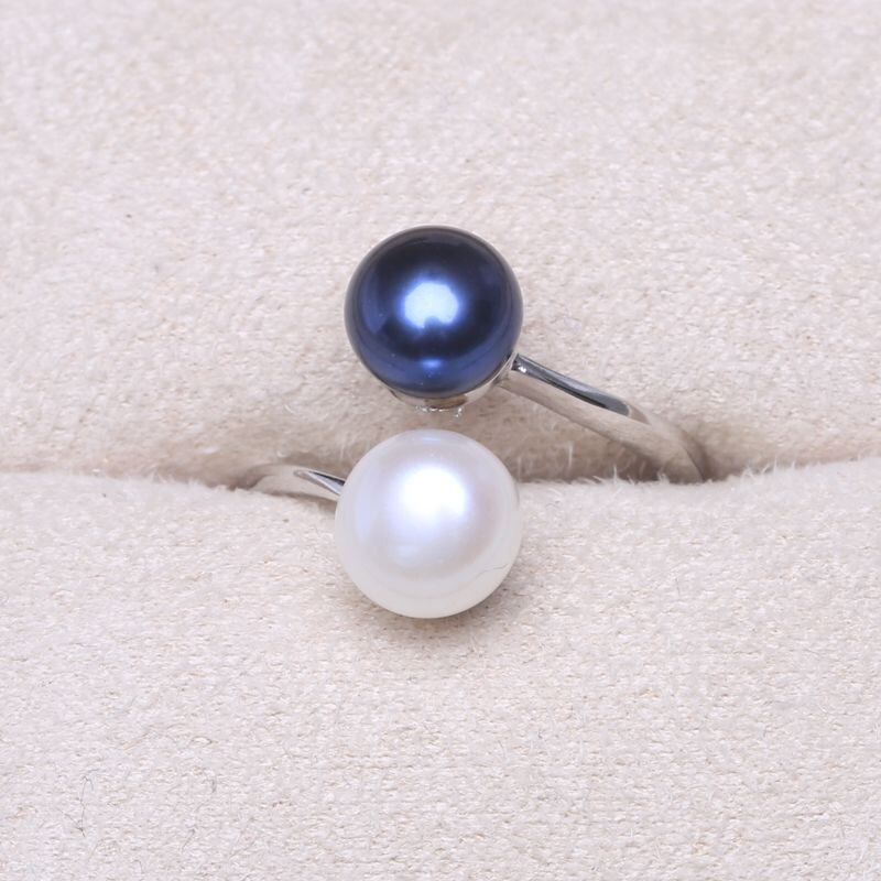 Women's 925 Sterling Silver Double Pearls Ring