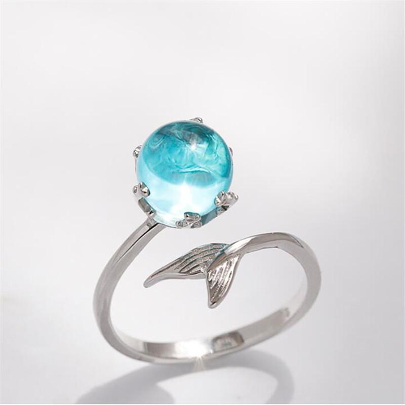 Open Silver Ring with Crystal Mermaid Bubble