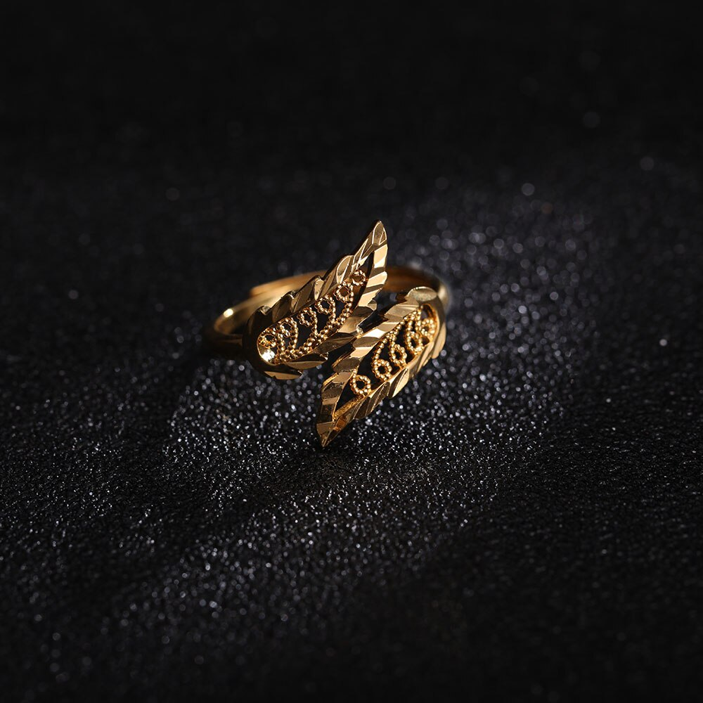 24K Yellow Gold Filled Leaf Ring for Women